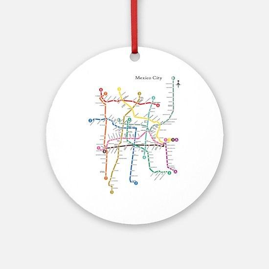 Mexico City metro map Ornament (Round)