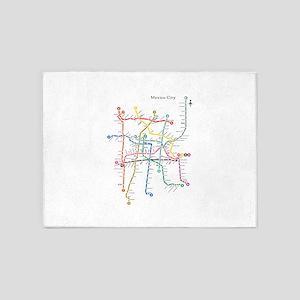 Mexico City metro map 5'x7'Area Rug