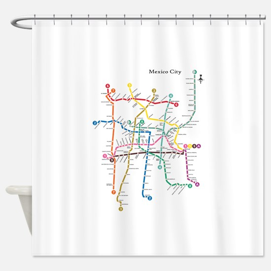 Mexico City metro map Shower Curtain
