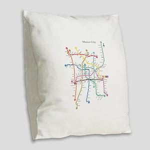 Mexico City metro map Burlap Throw Pillow