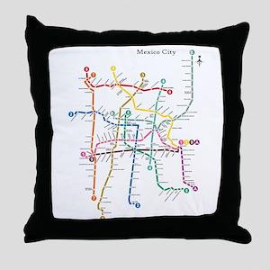 Mexico City metro map Throw Pillow