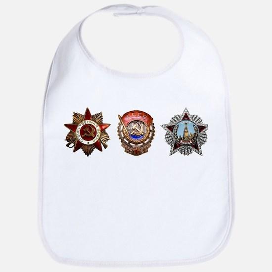 Military Soviet Union Decorations Medals T-shi Bib