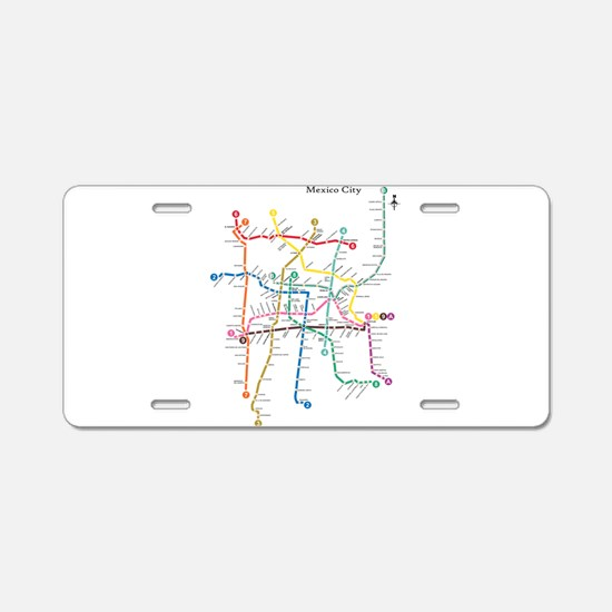 Mexico City metro map Aluminum License Plate
