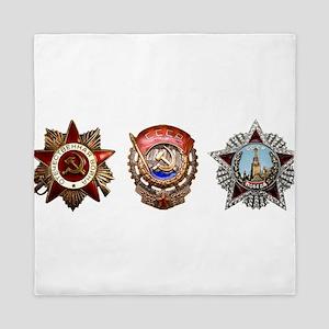 Military Soviet Union Decorations Meda Queen Duvet