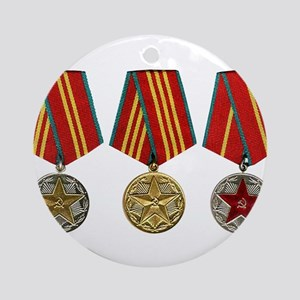 Soviet Union Medals T-shirt 2nd W Ornament (Round)