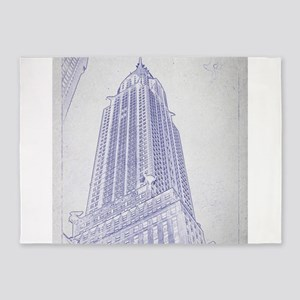 Chrysler building blueprint 5'x7'Area Rug