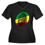 Jah Lion Women's Plus Size V-Neck Dark T-Shirt