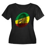 Jah Lion Women's Plus Size Scoop Neck Dark T-Shirt