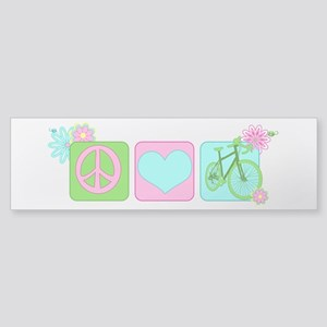 Peace Love and Cycling Sticker (Bumper)