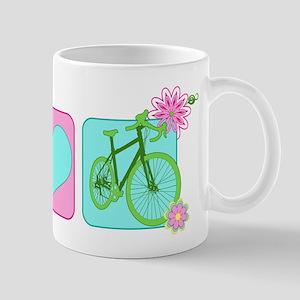 Peace Love and Cycling Mug