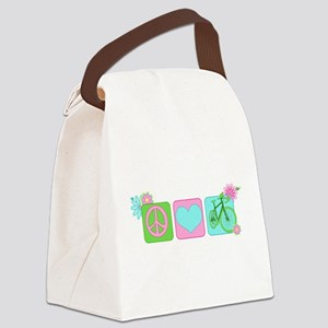 Peace Love and Cycling Canvas Lunch Bag