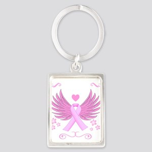 Breast Cancer Ribbon With Wings Keychains