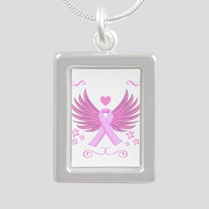 Breast Cancer Ribbon With Wings Necklaces