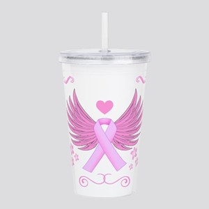 Breast Cancer Ribbon With Wings Acrylic Double-wal