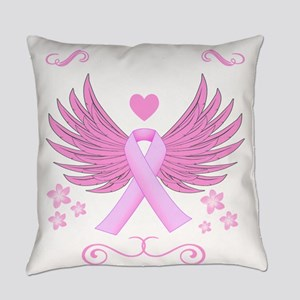 Breast Cancer Ribbon With Wings Everyday Pillow