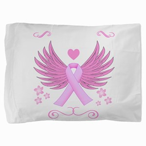 Breast Cancer Ribbon With Wings Pillow Sham