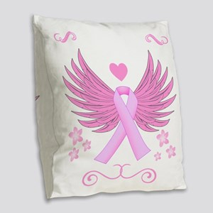 Breast Cancer Ribbon With Wings Burlap Throw Pillo
