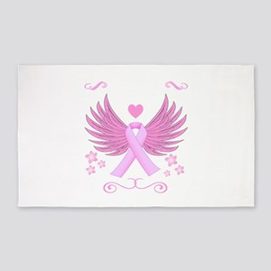 Breast Cancer Ribbon With Wings Area Rug