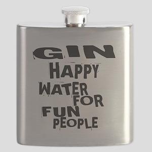Gin Happy Water For Fun People Flask