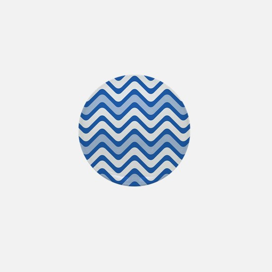 Blue Wavy Chevron Lines Mini Button