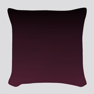 trendy burgundy ombre Woven Throw Pillow