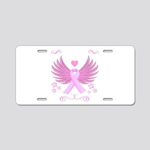 Breast Cancer Ribbon With Wings Aluminum License P