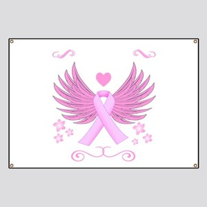 Breast Cancer Ribbon With Wings Banner
