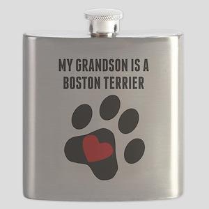My Grandson Is A Boston Terrier Flask