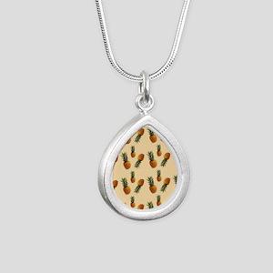 cute pineapple pattern Silver Teardrop Necklace