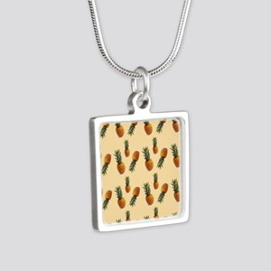 cute pineapple pattern Silver Square Necklace