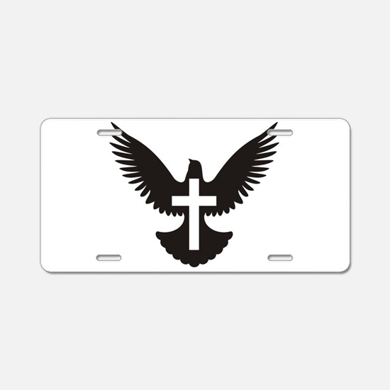 Dove with cross Aluminum License Plate