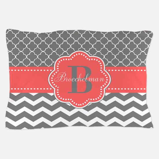 Gray Coral Quatrefoil Chevron Personalized Pillow