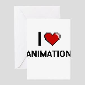 I Love Animation Digital Retro Desi Greeting Cards