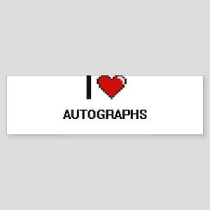 I Love Autographs Digital Retro Des Bumper Sticker