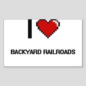 I Love Backyard Railroads Digital Retro De Sticker