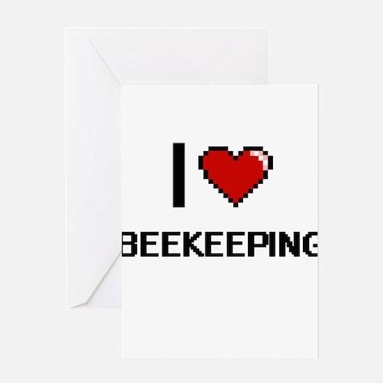 I Love Beekeeping Digital Retro Des Greeting Cards