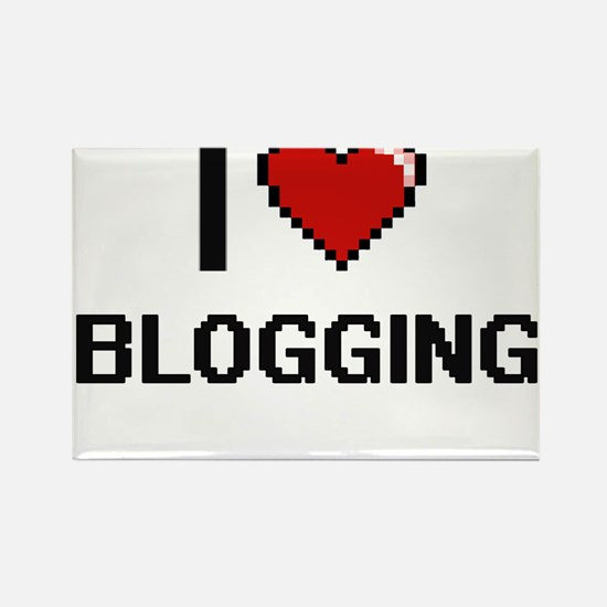I Love Blogging Digital Retro Design Magnets