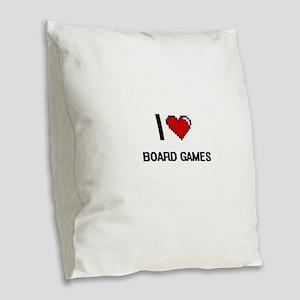 I Love Board Games Digital Ret Burlap Throw Pillow