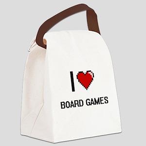 I Love Board Games Digital Retro Canvas Lunch Bag
