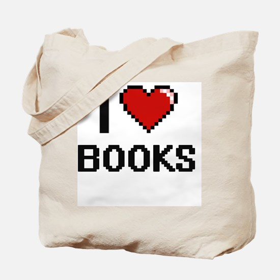 I Love Books Digital Retro Design Tote Bag