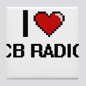 I Love Cb Radio Digital Retro Design Tile Coaster