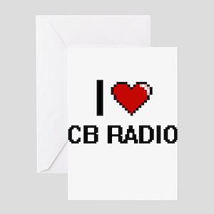 I Love Cb Radio Digital Retro Desig Greeting Cards