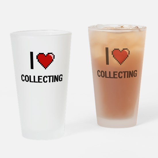 I Love Collecting Digital Retro Des Drinking Glass