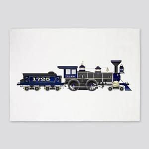 steam train blue and black 5'x7'Area Rug