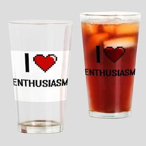 I Love Enthusiasm Digital Retro Des Drinking Glass