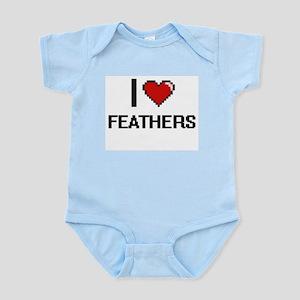 I Love Feathers Digital Retro Design Body Suit