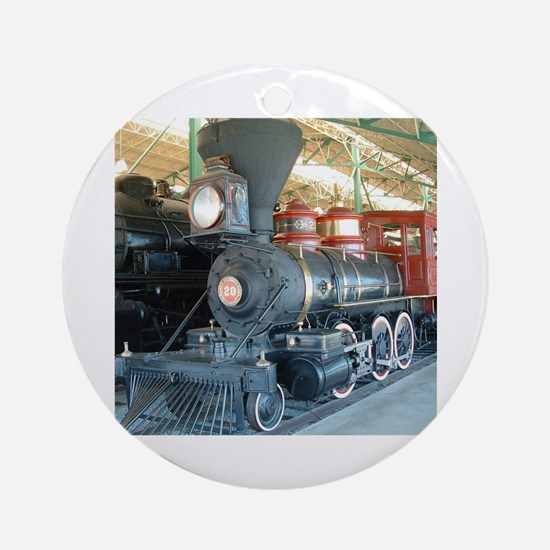 Funny Steam engine Round Ornament
