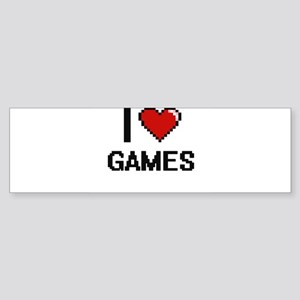 I Love Games Digital Retro Design Bumper Sticker