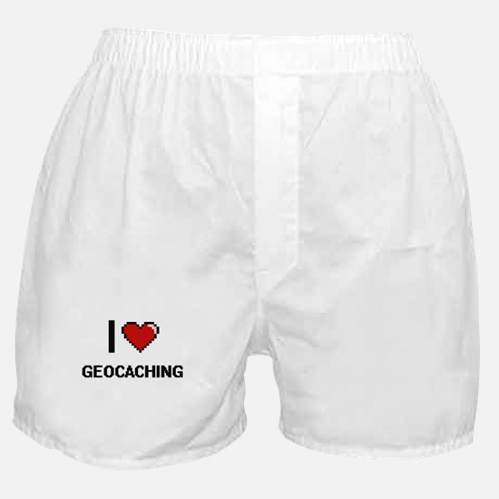 I Love Geocaching Digital Retro Desig Boxer Shorts