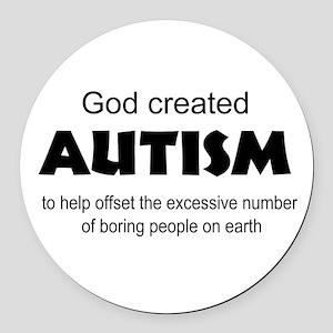 Autism offsets boredom Round Car Magnet